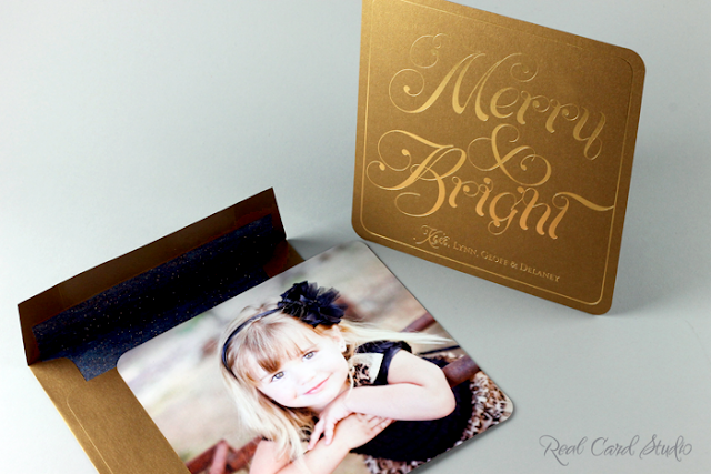 Gold, Blue, Duplexed papers, Foil printing, Rounded corners, Digital Photo printing, Envelope liner