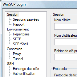 capture d'écran de WinSCP