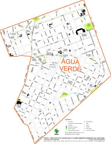 Mapa da Água Verde - Curitiba