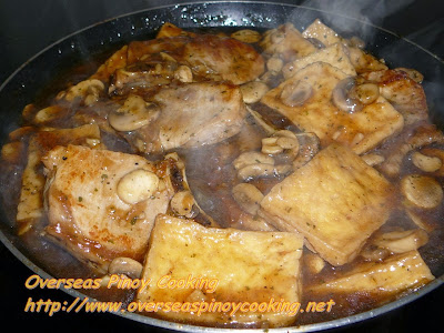Pork Chop and Tofu with Mushroom and Oyster Sauce - Cooking Procedure