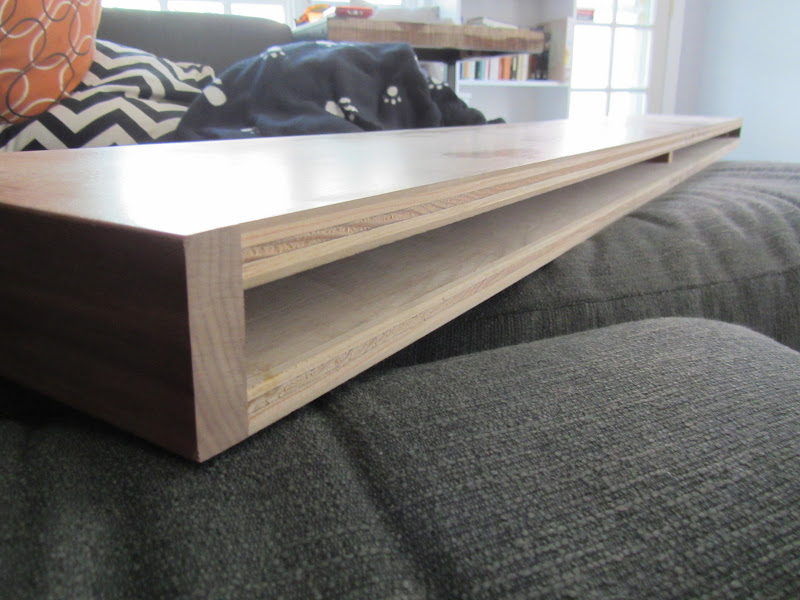 """The shelf has a 1"""" hollow space in the back."""