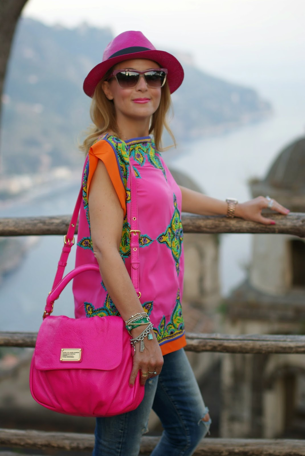 Preeti S Kapoor top, Villa Rufolo pics, Little Ukita bag, Ecua-Andino hat, Fashion and Cookies, fashion blogger