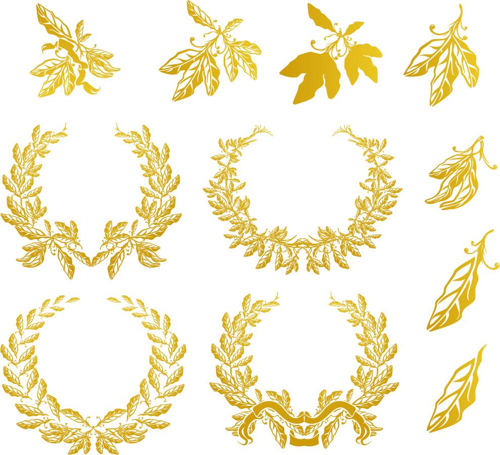 美しい黄金の月桂冠 golden laurel vector イラスト素材1