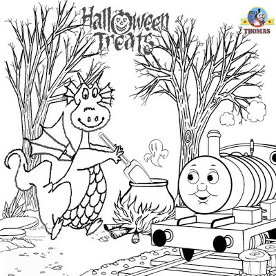 Printable Trick or treat friends Thomas Percy and the dragon Halloween colouring book pages for kids