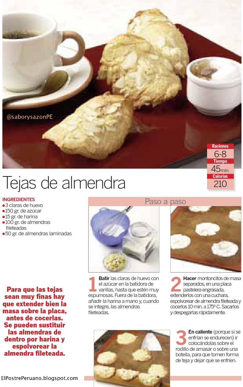 RECETA SENCILLA: TEJAS DE ALMENDRA