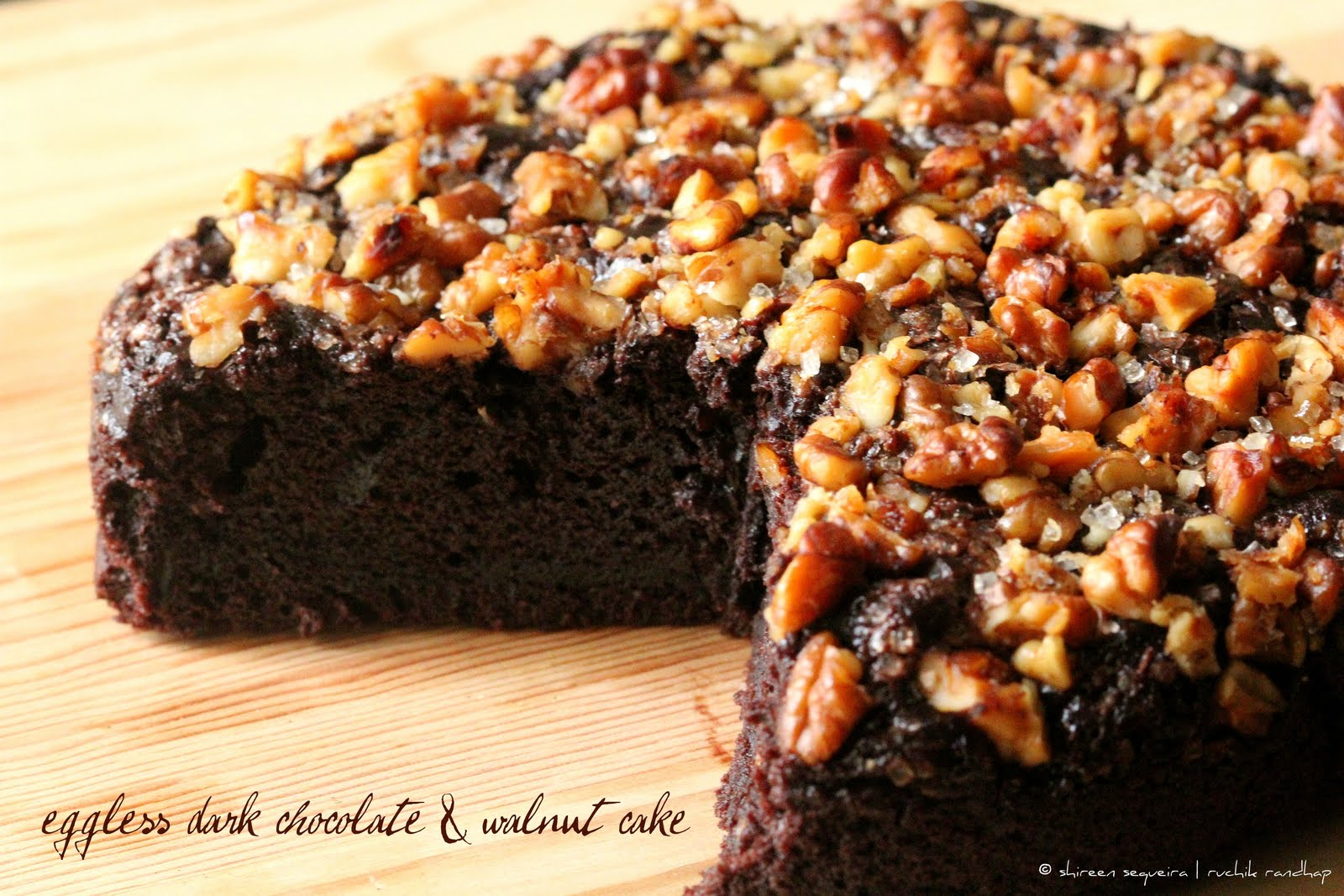 Chocolate Walnut Cake Images : Eggless Dark Chocolate & Walnut Cake - Ruchik Randhap