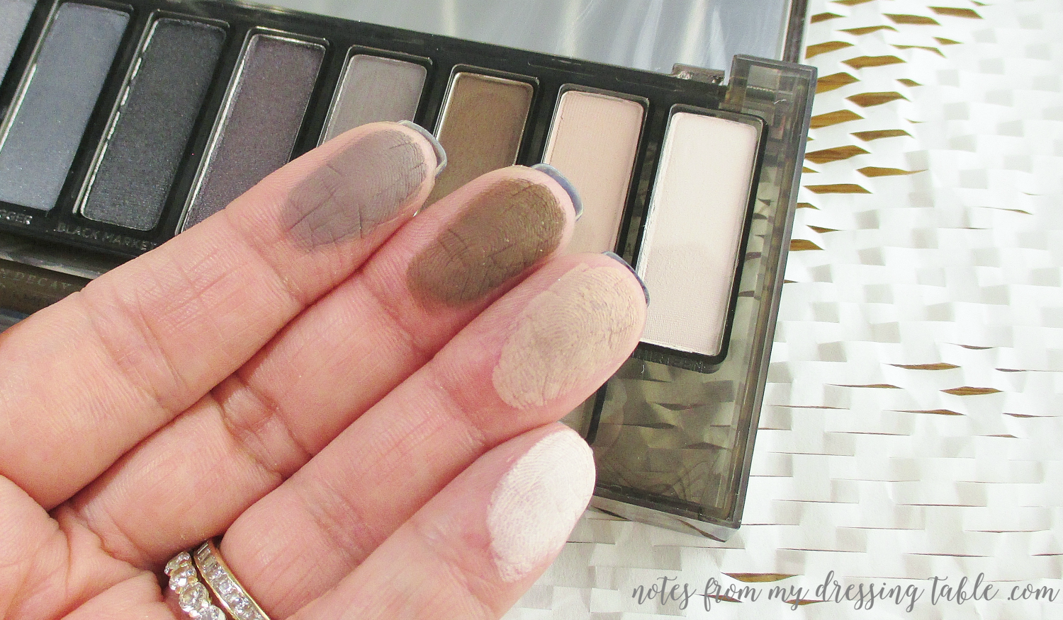 Urban Decay NAKED Smokey Palette Matte Swatches Finger Swatches notesfrommydressingtable.com