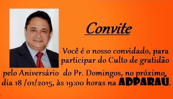 Pastor Edinaldo Domingos Convite Culto De Gratidão Pelo