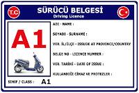 A1 Sınıfı Sürücü Belgesi Ehliyet