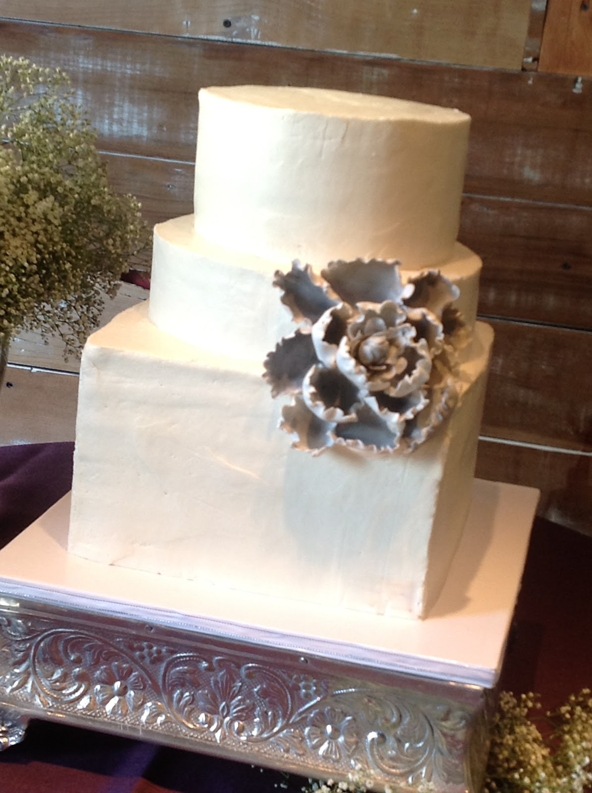 Simple Square 3 Tier Wedding Cake Viewing Gallery