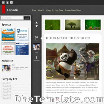 Xanadu blogger template.wordpress theme to blogspot template. magazine style blogspot template