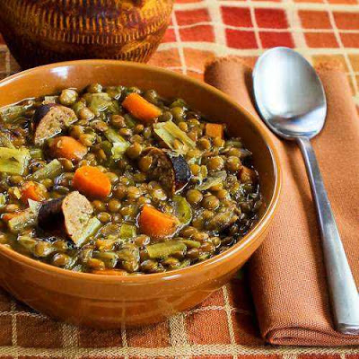 A hearty Slow Cooker Lentil Soup with Turkey Bratwurst, Leeks, and Sherry Vinegar [from Kalyn's Kitchen via SlowCookerFromScratch.com]