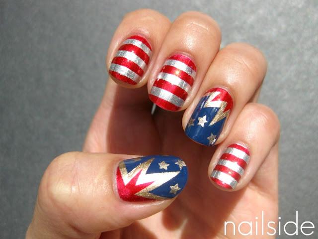American nails | Red white & blue nails | Blue nail art ideas | Patriotic Memorial Day Nail Designs