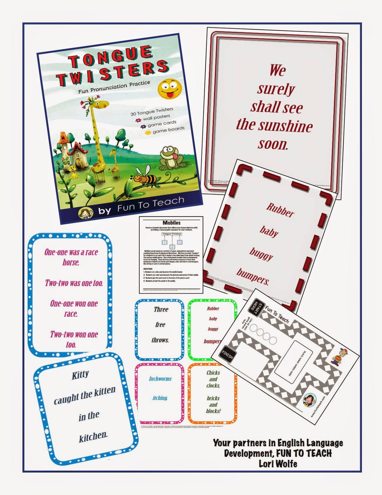 Tongue Twisters Pronunciation Made Fun!  This 48-page pronunciation unit has everything you need to teach students the correct pronunciation necessary to be academically successful in English. Tongue Twisters – Pronunciation Made Fun contains 30 traditional tongue twisters to help elementary students master English pronunciation!  Wall posters and game cards are provided for your students to practice the sounds of English with these engaging tongue twisters.   In addition, our activities and ideas provide fun and interest so your students learn through hands-on experiences. This unit is ready to go to work for you! Tongue Twisters – Pronunciation Made Fun has everything you need to teach students the correct pronunciation including black lines for the 30 traditional tongue twisters as wall posters, game/mobile cards and game boards Each of the 30 tongue twisters has its own wall poster and game card.  Practice English pronunciation with fun activities and game boards.  •WORD WALL CARDS •GAME BOARDS •GAME CARDS  Each tongue twister is printed on an individual wall poster (8 x 11 ½) and game/flash card. Simply copy, cut, and use.  Use this great English pronunciation package for kindergarten through 6th graders.  Perfect for second language learners and speech students!  See all our great math and grammar games at www.funtoteach.com.