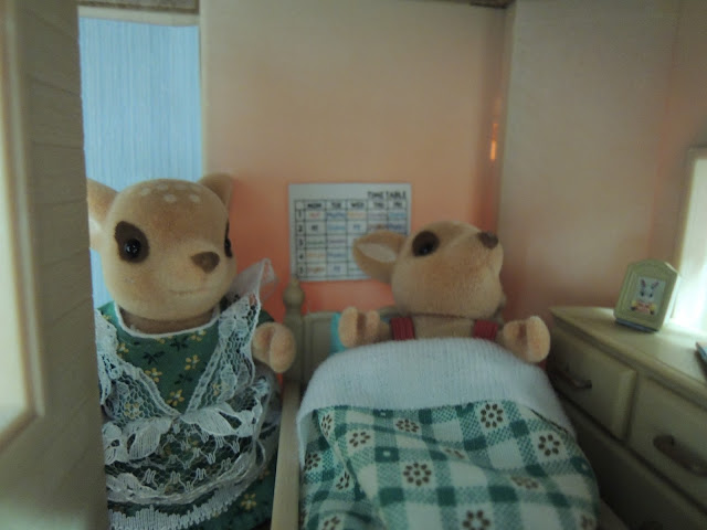 Sylvanian Families Moss Reindeer ill in bed