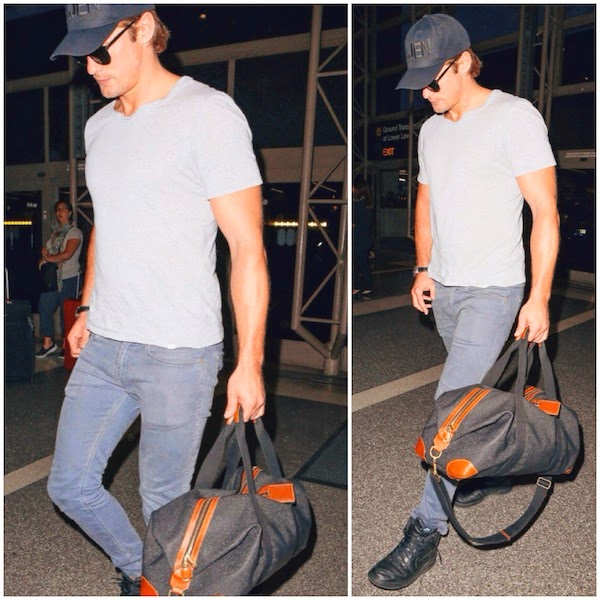 Alexander Skarsgard's Mulberry Clipper bag - LAX Airport