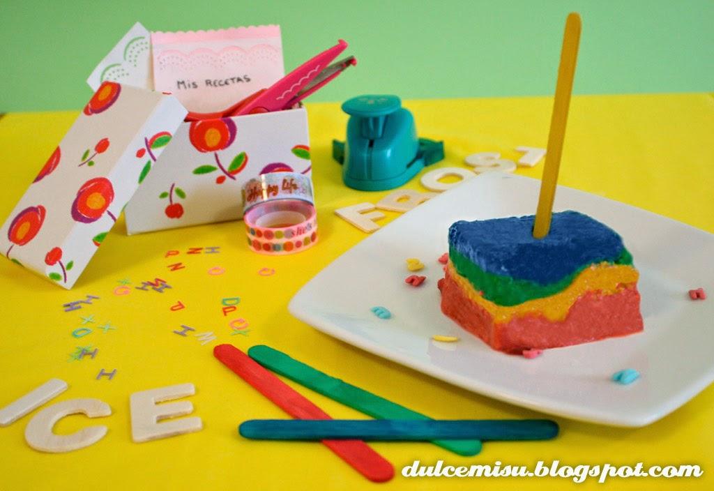 helado, multicolor, horchata, bizcocho, M&M's, decoración, dulcemisu, palitos helado, postre