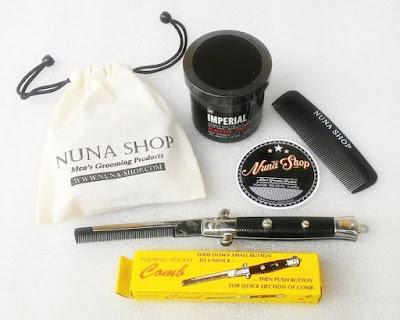 Paket Hemat Pomade Imperial Barber Blacktop + Switchblade Comb (SB) + Pouch + Stiker + Sisir Saku