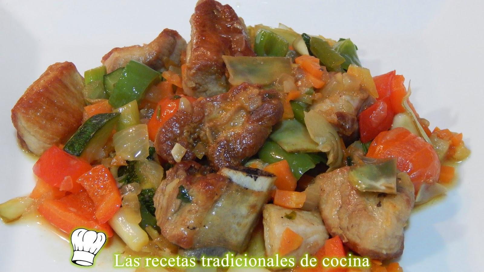 costillas de cerdo con verduras