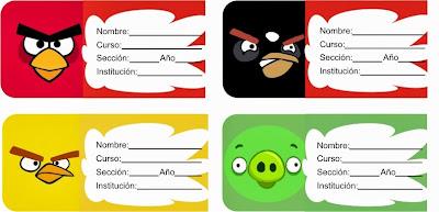 cuatro divertidas etiquetas de cuaderno de angry birds