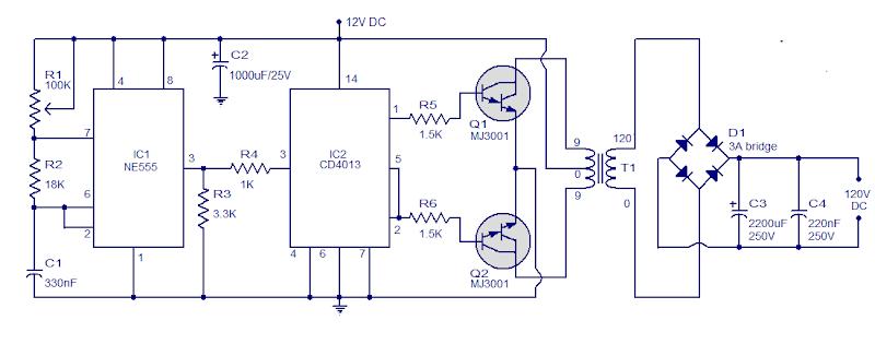 Simple Circuit 12V to 120V DC DC Converter