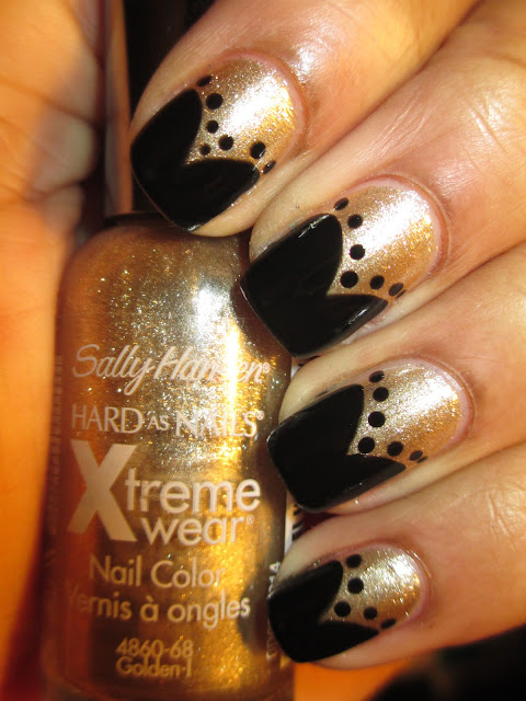 Sally Hansen, Golden-I, Rimmel, Black Satin, french tip, frenchie, swooping v, fishtail, polka dots, nails, nail art, nail design, mani