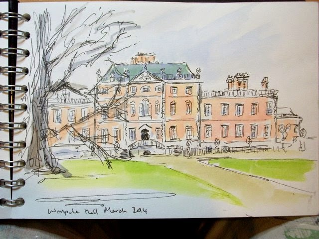 Wimpole Hall national Trust ink watercolour sketch