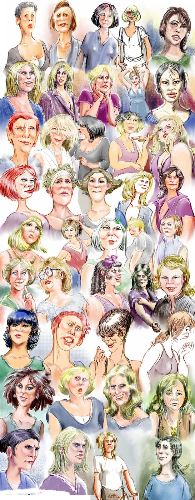 A gallery of women caricature portraits by ArtMagenta