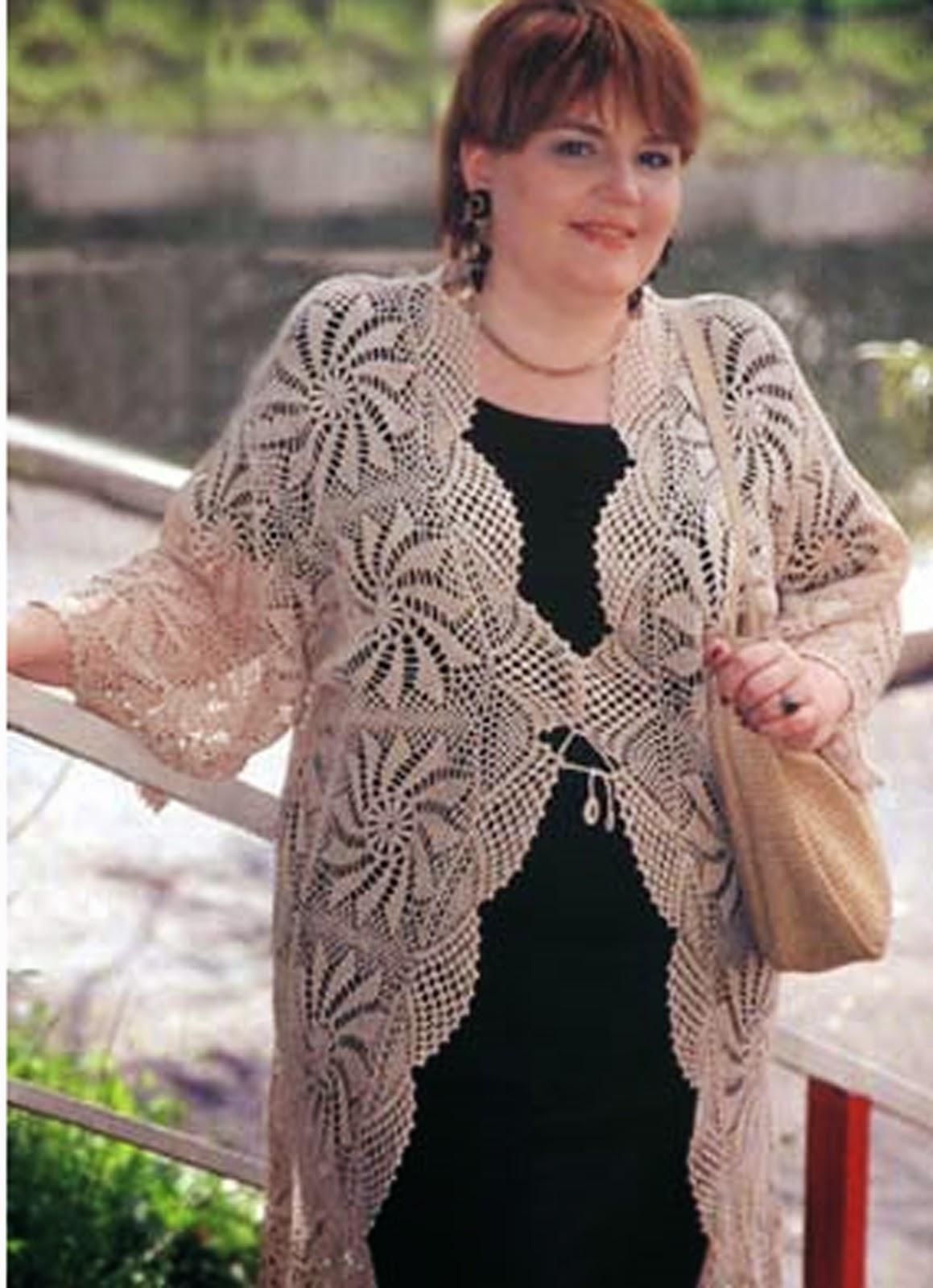 Вязание крючком для женщин большие размеры кофточки
