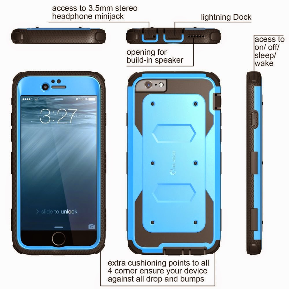 iPhone 6 Plus Case , i-Blason® [Armorbox] built-in Screen Protector **Full body** [Heavy Duty] Protection Shock Absorb Bumper Corner for Apple iPhone 6 Plus 5.5 inch (Blue)