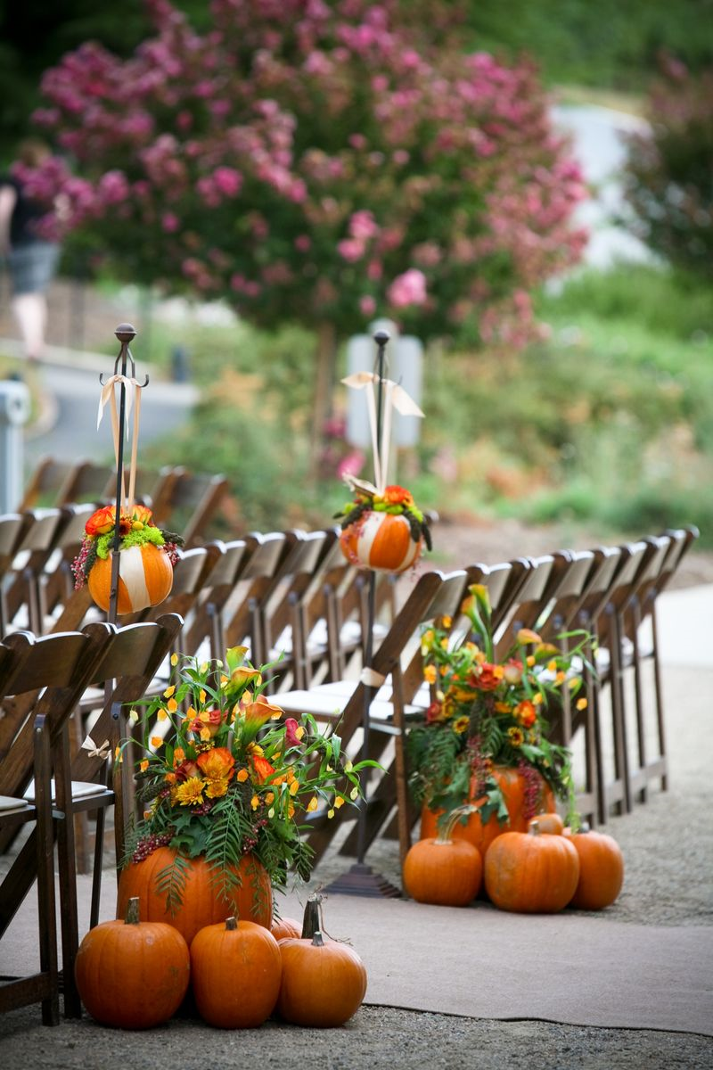 Beautiful bridal rustic aisle wedding decorations for Images of fall decorations outside