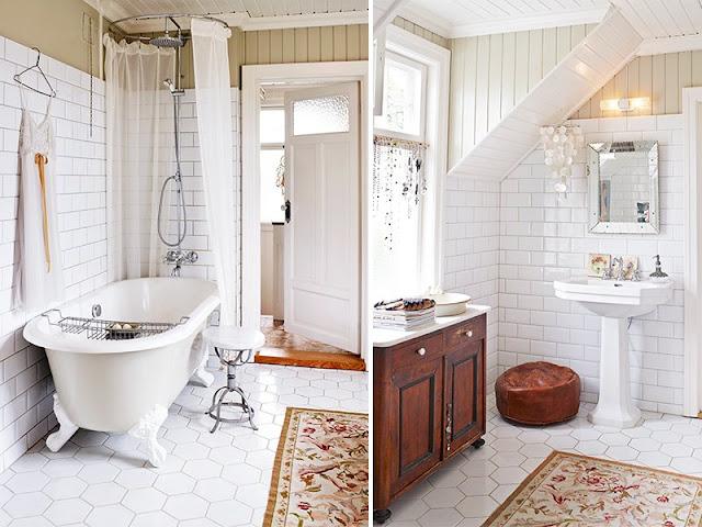 Puertas De Baño Biseladas:Interior] Elegancia en blanco brillante, femenino y toques vintage