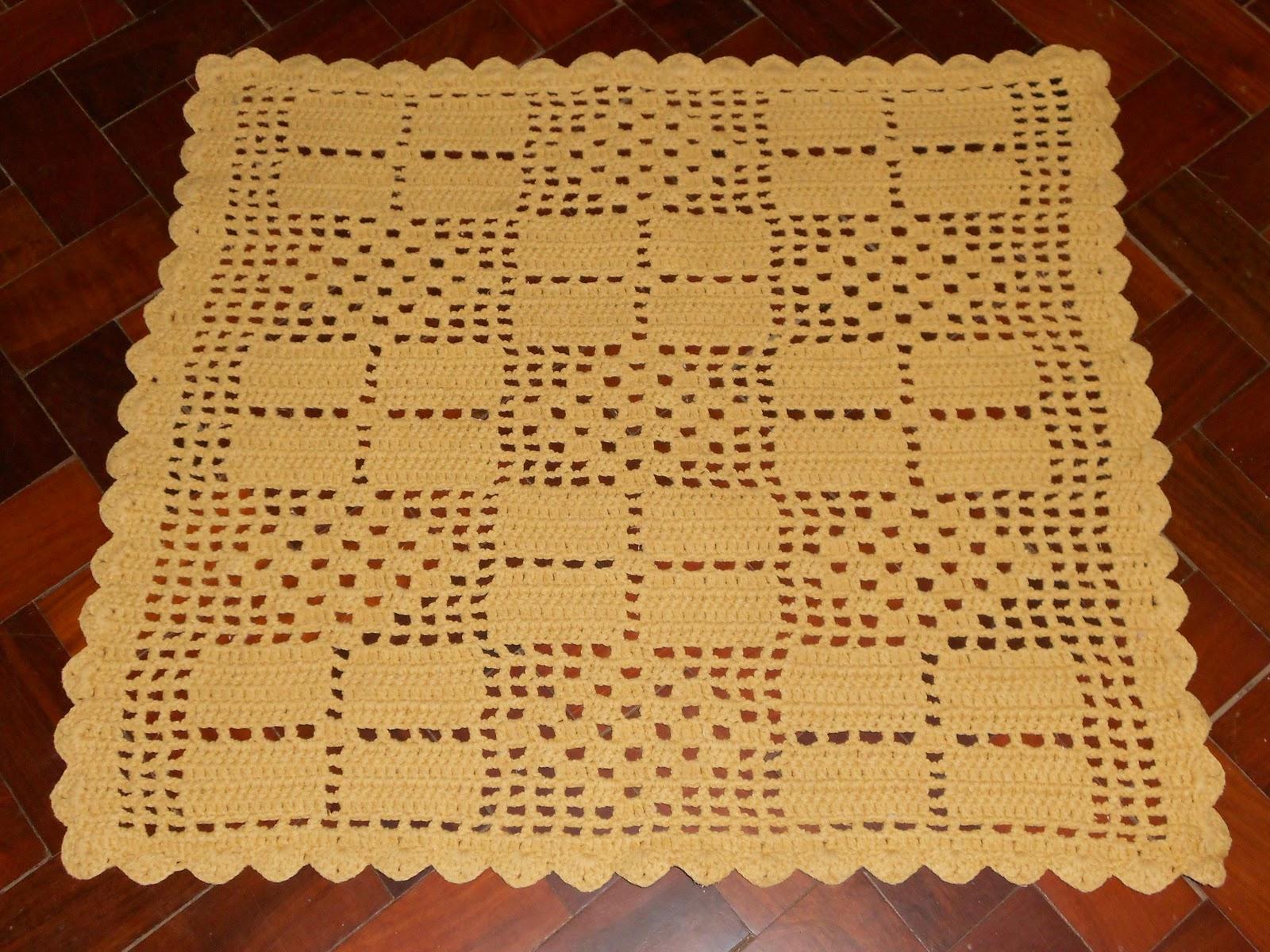 Tapete Quadrado De Barbante Para Sala Estrela Com Flores With  -> Tapete Para Sala Croche