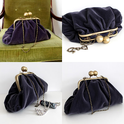 Purple Velvet Evening Bag