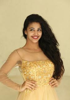 Daksha Nagar in a Transparent Net Golden Anarkali Suit lovely Smile