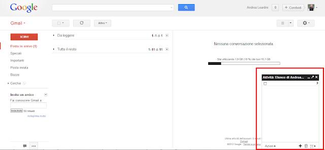 Gadget attività (Google Task) in Gmail