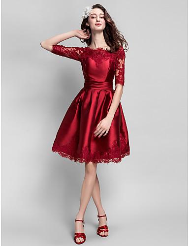 Vestido Rojo Corte Evase hasta la rodilla