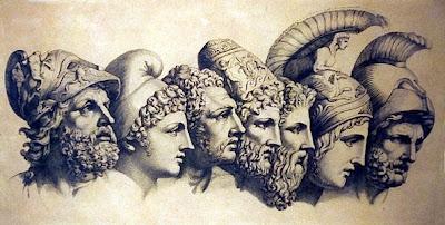 De izquierda a derecha: Menelao, Paris, Diomedes, Odiseo, Néstor, Aquiles y Agamenón
