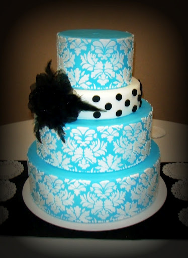 black white turquoise wedding cakes