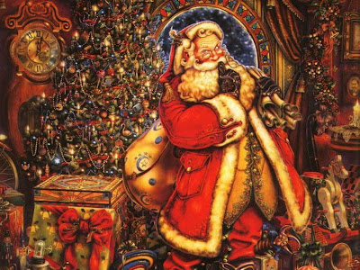 vintage painting of santa with bag of toys in front of decorated tree
