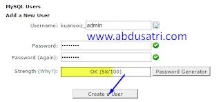 cara create mysql di hosting