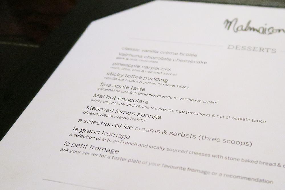 Dessert menu at the Malmaison Leeds Brasserie