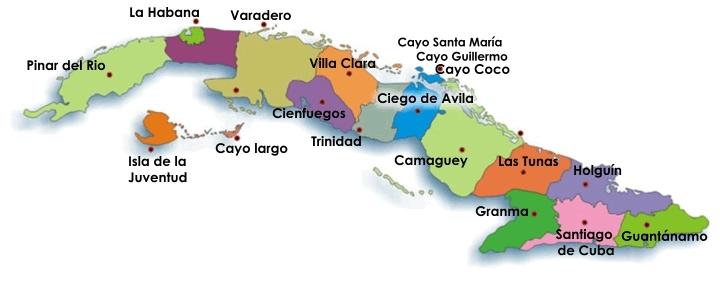 mapa de cuba y los cayos