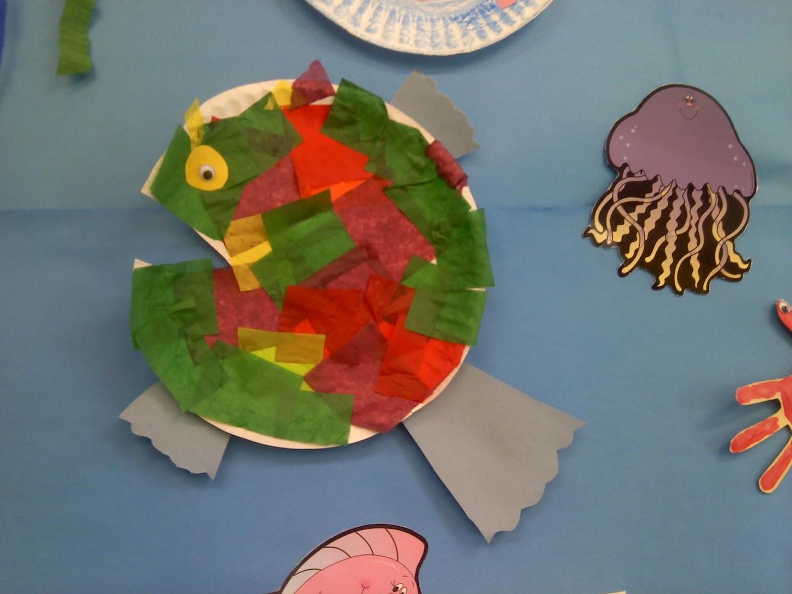 Crafts for preschoolers collage fish for Fish activities for preschoolers