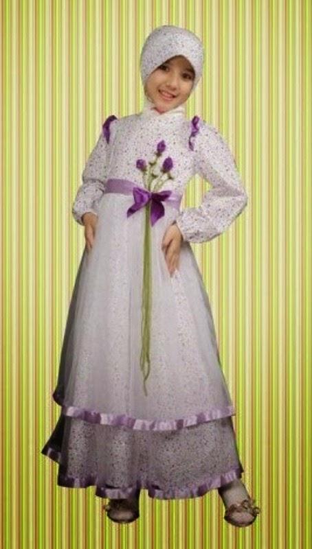 Baju muslim anak perempuan model terbaru motif bunga