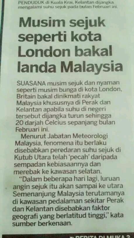 Malaysia alami musim sejuk seperti di London