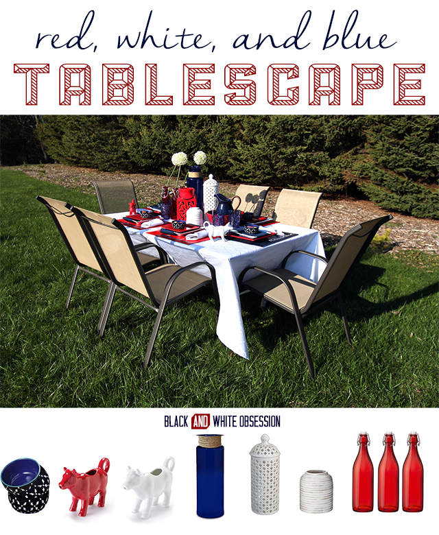 Red, White, and Blue Patriotic Tablescape perfect for Memorial Day, Independence Day, or Veteran's Day | www.blackandwhiteobsession.com