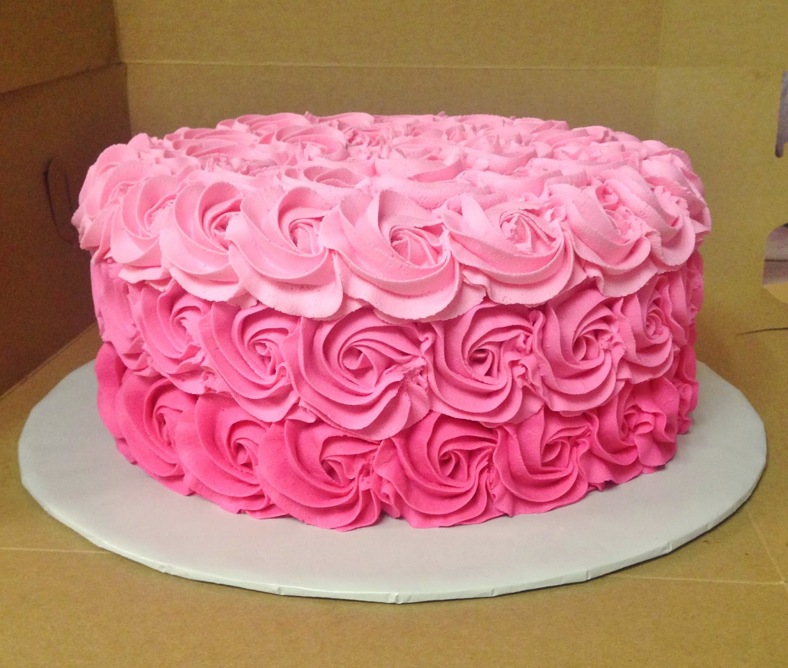 Cakes by Mindy: Pink Ombre Rosette Cake 10