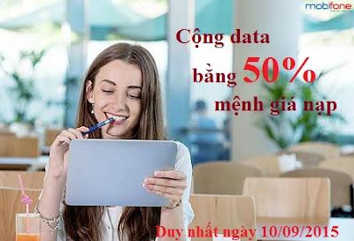 Mobifone cộng data bằng 50% cho TB Fast Connect nạp thẻ ngày 10/09