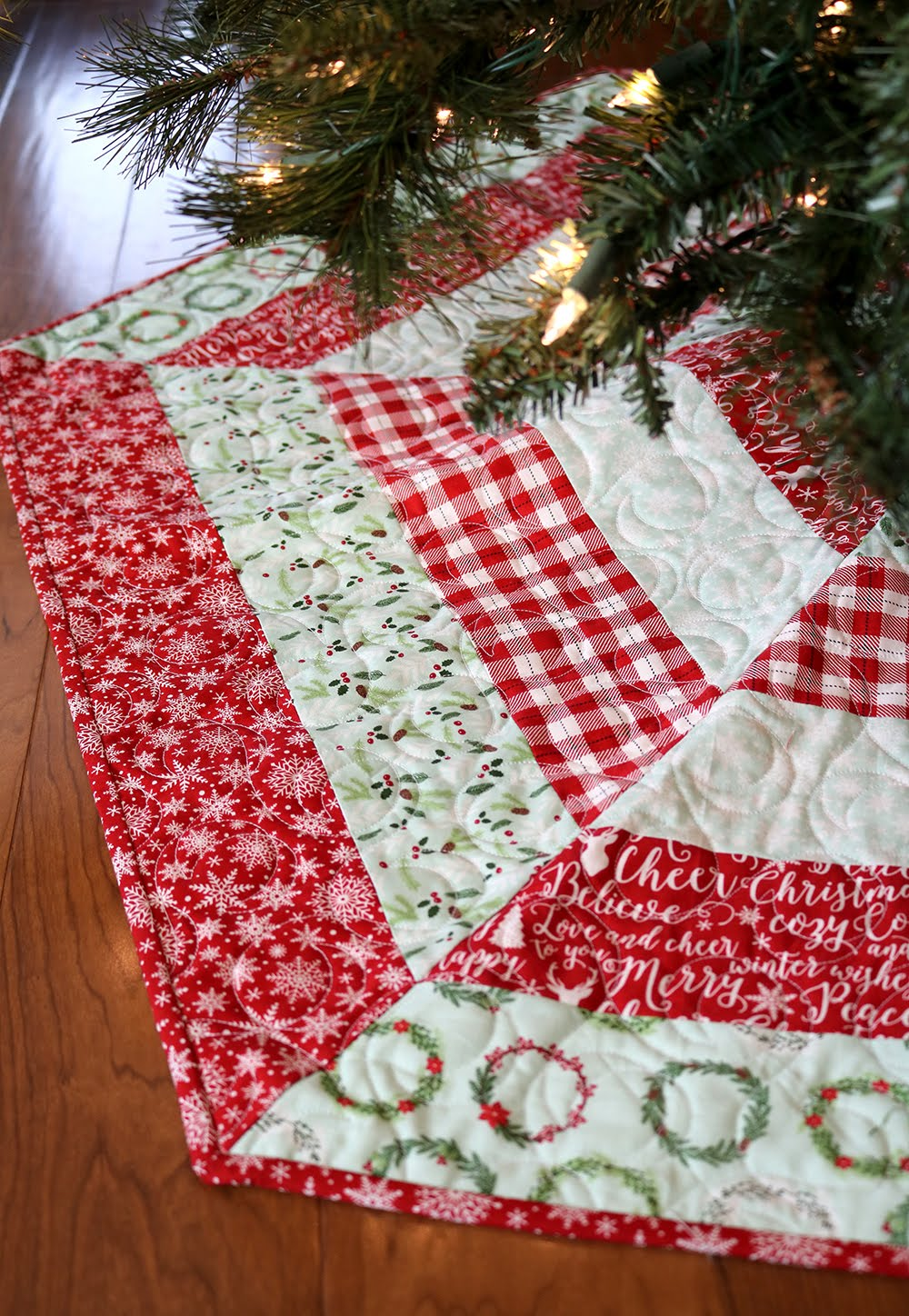 holly jolly christmas tree skirt by a bright corner - Pink Christmas Tree Skirt